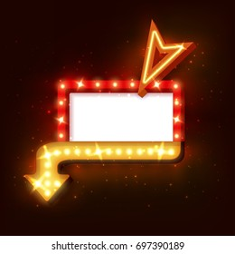 Retro neon sign with neon arrow. 3D night neon sign with glowing lights. of frame, neon arrow icons. Realistic frame for your designs, banners, flayers or advertising