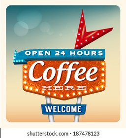 Retro neon sign coffee in the style of American roadside advertising vintage style 1950s