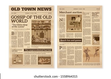 Retro newspaper. Daily news articles yellow newsprint old magazine. Media newspaper pages. Vintage paper journal background, illustration of press business styles wallpaper