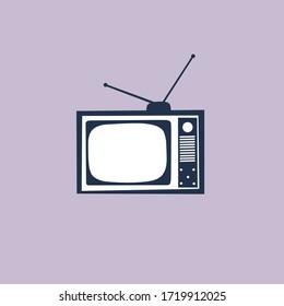 Retro Old Blue Television Cartoon/illustration wih Simple Style