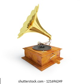 retro old gramophone on a white background