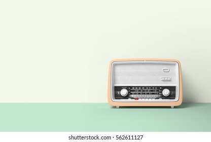 Retro old radio on background 3D illustration