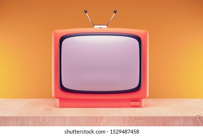 Retro old television with antenna on table. 3d render