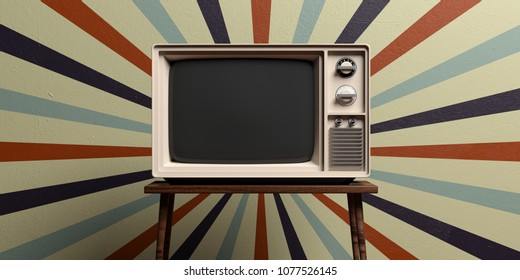 Retro old tv on a table, circus vintage wall background. 3d illustration