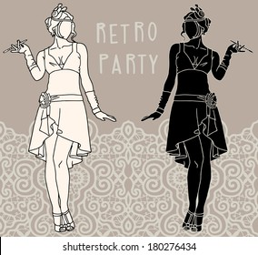 Retro Fashion Girl Party Invitation Design Stock Vector Royalty