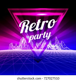 Retro party poster. 1980 style. illustration