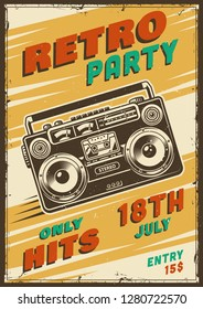 Retro party poster with ghetto blaster.  illustration.