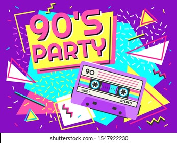 Retro party poster. Nineties music, vintage tape cassette banner and 90s style. Radio invitation card, dance time parties advertisement poster  background illustration