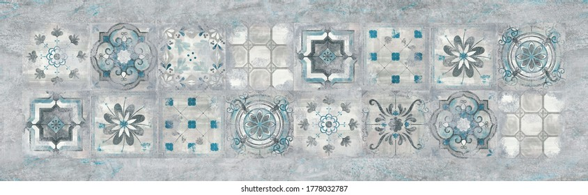 Retro pattern and cement texture repeating background, kitchen tile design