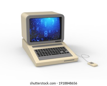 Retro PC computer desktop device concept 3D illustration