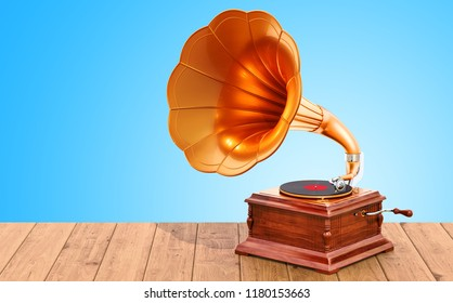 Retro phonograph on the wooden table. 3D rendering