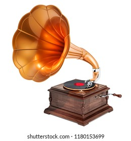 Retro phonograph, vintage gramophone. 3D rendering isolated on white background