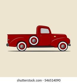 Retro pickup truck. Illustration