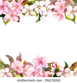 Retro pink flowers (apple, cherry blossom). Floral frame for vintage greeting card. Aquarelle