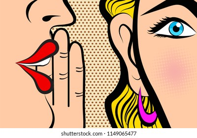 Retro Pop Art style Comic Style Book panel gossip girl whispering in ear secrets with pink cheek, rumor, word-of-mouth concept illustration