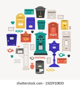 Retro post office card with vertical pillar letter-box, public wall letterboxes and mail posts with envelope and horn symbols. Vintage mailbox circle print with classic london royal post box icons.