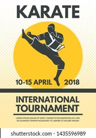 Retro poster invitation at karate fighting championship. banner sport competition tournament illustration