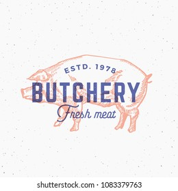 Retro Print Effect Butchery. Abstract Sign, Symbol or Logo Template. Hand Drawn Pig Sillhouette with Typography. Vintage Emblem or Stamp. Isolated. Raster Copy.