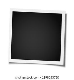 Retro realistic square photo frame placed on white background. Template photo design.