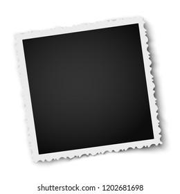 Retro realistic square photo frame with figured edges isolated on white. Photo mockup.