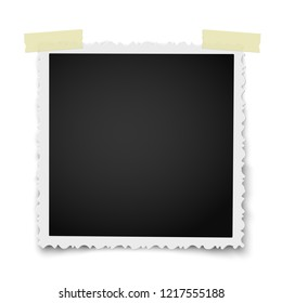 Retro realistic square photo frame with figured edges on two pieces of sticky, adhesive tape placed on white background. Template photo design.