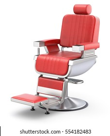 Retro red barber chair on white background - 3D illustration