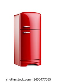 Retro red fridge refrigerator isolated on white background. 3d rendering illustration