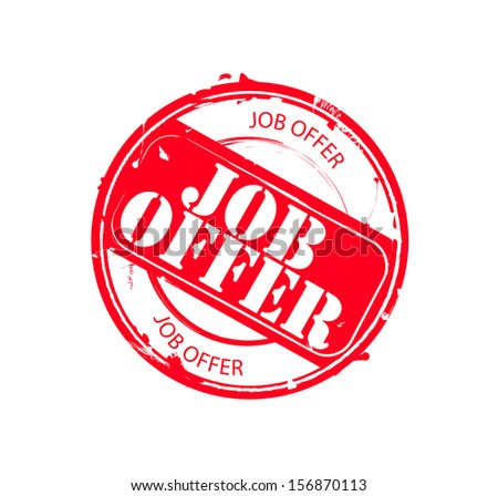 "Retro red round rubber stamp ""Job Offer"""