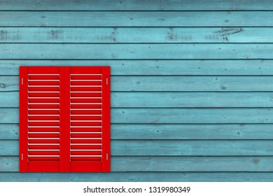 Retro Red Wooden Window with Sutters Jalousie on a wooden plank wall background. 3d Rendering