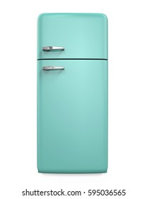 Retro Refrigerator Isolated. 3D rendering