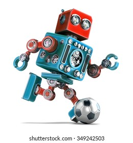 Retro robot playing soccer. Isolated over white. Contains clipping path.