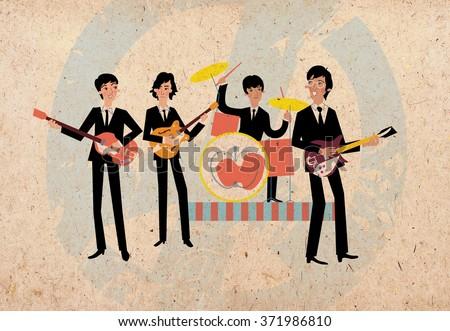 Retro rock band musicians