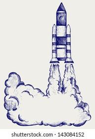 Retro rocket. Doodle style. Raster version