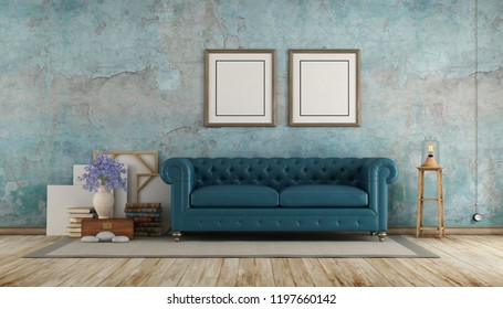 Retro room with blue calssic sofa against old wall - 3d rendering
