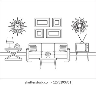 Retro room interior in flat design. Living room in line art. Linear vintage illustration. Thin line home space with sofa, TV. House equipment 60s. Outline sketch with furniture 70s.