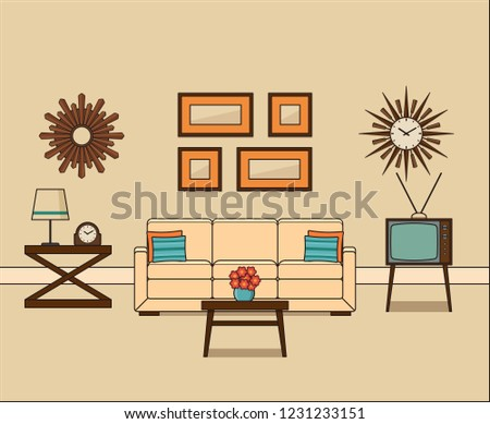 Retro Room Interior In Flat Design Living Line Art Linear Vintage Illustration