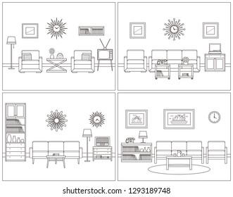 Retro room interior. Linear living room set. Flat design furniture sofa, couch, armchair, TV, turntable, telephone, radio. Line art illustration. House outline sketch. Vintage background 60s.