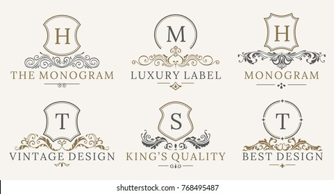 Retro Royal Vintage Shields Logotype set.  calligraphyc Luxury design elements. Business signs, identity, spa, hotels, badges elements