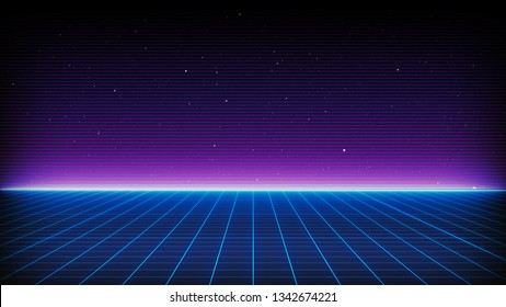 Retro Sci-Fi Background Futuristic Grid landscape of the 80`s. Digital Cyber Surface. Suitable for design in the style of the 1980`s