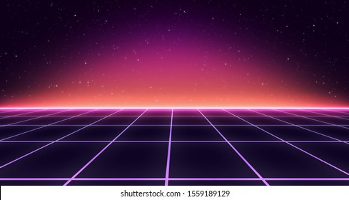 Retro Sci-Fi Background Futuristic Grid landscape of the 80`s. Abstract Digital Cyber Surface. Design in the style of the 1980`s. 3D illustration