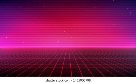 Retro Sci-Fi Background Futuristic landscape of the 80`s. Digital Cyber Surface. Suitable for design in the style of the 1980`s