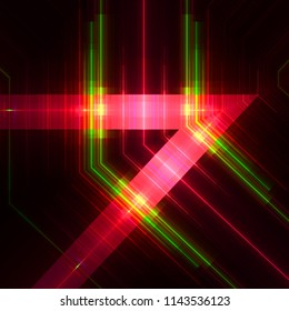 Retro sci-fi neon shapes of nineties. 3d illustration