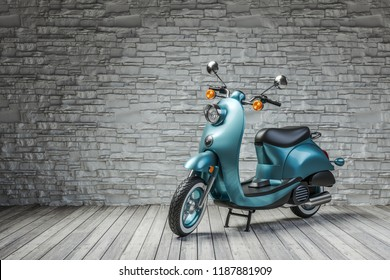 Retro scooter in room on brick wall background. 3d render