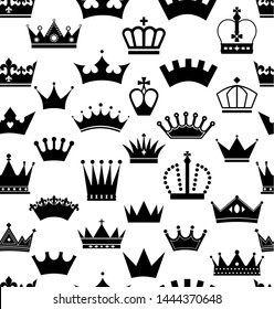 Retro seamless pattern of crowns surface on white.