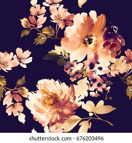 Retro seamless pattern on a black background. Flying flowers.