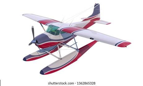 Retro seaplane illustration. 3D render. Isolated on white background