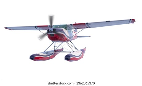 Retro seaplane illustration. 3D render. Isolated on white background. Propeller is rotating and blurred
