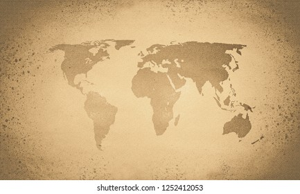 Retro sepia world map, textured