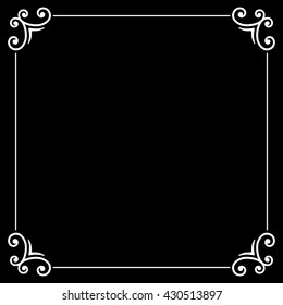 Retro Silent Movie Calligraphic Frame on Black Screen. illustration