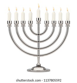 Retro Silver Hanukkah Menorah with Burning Candles on a white background. 3d Rendering